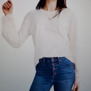 Madewell Embroidered Eyelet Tier Sleeve Tee Small
